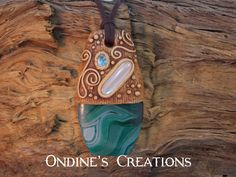 Ondines Creations Clay Pendant  Rainbow Moonstone, Aquamarine Faceted Gemstone, Green Agate Crystal Mineral Healing Stone Hand Painted Pendant # 158 by OndinesCreations on Etsy