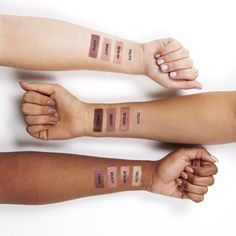 Swatches for our Love Line set, which includes Truth, Sequin, Brady, and Static eye shadows.