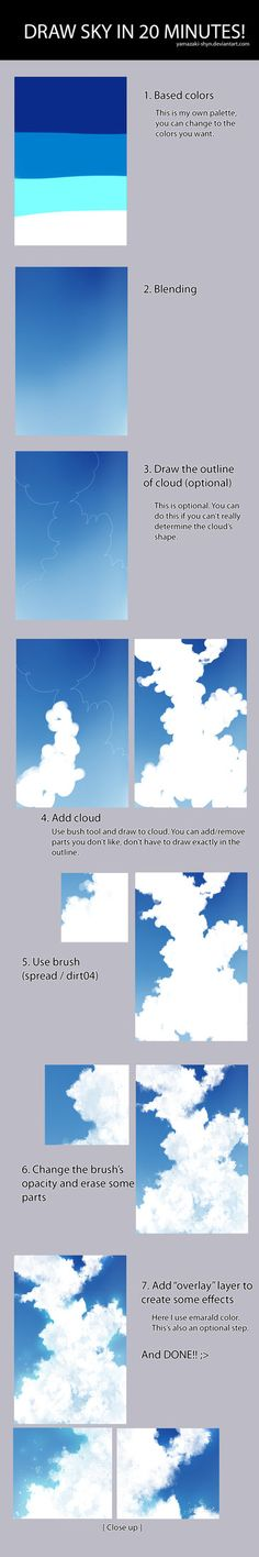 - Tutorial: How to draw sky in 20 minutes [SAI] by Yamazaki-Shyn.dev… on Tutorial: How to draw sky in 20 minutes [SAI] by Yamazaki-Shyn.dev… on hopefully i'll be able to do it in less than 20 minutes ^_^; Digital Painting Tutorials, Digital Art Tutorial, Art Tutorials, Drawing Tutorials, Drawing Sky, Drawing Tips, Drawing Ideas, Manga Drawing, Art Sketches