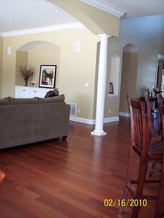 brazilian cherry floors similar couch similar wall color Home Upgrades, House, Family Room, Home, Bedroom Makeover, House Flooring, Floor Remodel, New Homes, Cherry Wood Floors