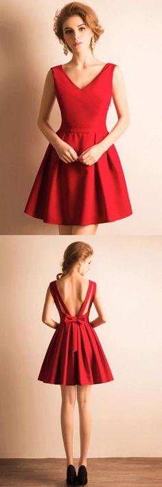 A-Line V-Neck Bowknot Pleats Short Prom Dress Homecoming Dress