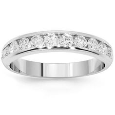 Simple yet elegant in design, this lovely womens diamond wedding band is crafted in highly polished Platinum. Eleven brilliant round cut diamonds are channel set half way around the band and total to 0.75 carats. The band measures to 1/8 inches in width and weighs approximately 7.1 grams. This glamorous diamond wedding band is an ideal gift for that special someone. $2,794.00