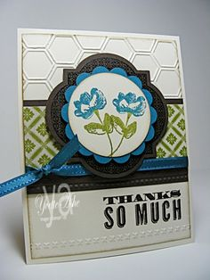 Stamps: Oh, Hello; Just Thinking  Paper: Very Vanilla, Early Espresso, Island Indigo, Old Olive, Tea for Two DSP  Ink: VersaMark, Crumb Cake, Island Indigo, Old Olive  Accessories: Circles #2 Originals Bigz Die, Window Frames Collection Framelits Die, Honeycomb Textured Impressions Embossing Folder, Big Shot, Needlepoint Border Textured Impressions Embossing Folders, 2-3/8″ Scallop Circle Punch, Island Indigo Ribbon (SAB), Clear EP, Early Espresso Embossing Powder, Dimensionals