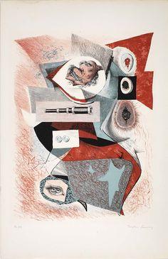 Dorothea TanningSeptieme Peril, from the portfolio Les 7 Perils Spectraux, Published 1950Color lithograph on paper (via Septieme Peril, from the portfolio Les 7 Perils Spectraux by Dorothea Tanning / American Art)