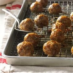 Great-Grandma's Italian Meatballs Recipe -My great-grandmother started the Italian meatball tradition in our family. We use ground beef and turkey, and the flavor's so good, you won't miss the extra calories. —Audrey Colantino, Winchester, Massachusetts