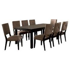 Furniture of America Bruce 7 Piece Dining Set in Espresso (Brown) Square Kitchen Tables, Kitchen Dining Sets, Dining Room Sets, Dining Room Furniture, Outdoor Furniture Sets, Furniture Design, Wooden Dining Table Set, 7 Piece Dining Set, Dining Bench