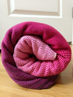 "Love these colors. ETLA Threadworks handwoven ""Cherry Cordial"" 5m twill weave fuchsia weft baby wrap"