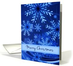 Merry Christmas/Blue and White Snowflakes/Design card