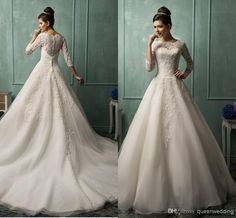 Wholesale cheap ball gown wedding dresses online, 2014 fall winter - Find best amelia-sposa new sheer back wedding dresses lace beaded 3/4 long sleeve ball gown charming garden bridal party gowns 2014 arabic at discount prices from Chinese ball gown wedding dresses supplier on DHgate.com.