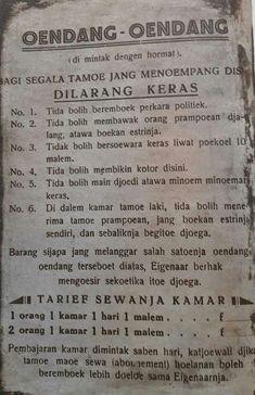 Tata tertib yang dipasang di hotel-hotel Surabaya tahun 1930an Vintage Ads, Vintage Posters, Minangkabau, Socialist Realism, Old Commercials, Dutch East Indies, Old Advertisements, Free Facebook, Old Ads