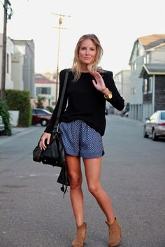 Shorts and booties. I love this outfit!