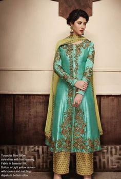 687da27c5f5 Turquoise And Yellow Designer Party Wear Suit