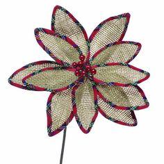 burlap poinsettia | Burlap Poinsettia Ornament : Christmas