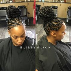 Feeder Braids Updo Click this image for more info. Cornrows Updo, Braided Ponytail, Ghana Braids Updo, Goddess Braids Updo, Big Braids, Braids For Black Hair, Girls Braids, Chunky Box Braids, Tree Braids