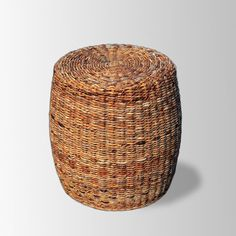 Woven Abaca Stool - with small tray as side table by cream chair