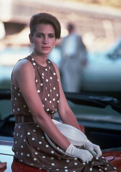 Pretty Woman - Despite playing a prostitue, many of Julia Roberts' looks from Pretty Woman became iconic - particularly brown polka dot ensemble, complete with hat and matching gloves, from the polo scene.    FACT: Roberts admitted she kept the dress to keep on eye on her figure - and can still fit into it.