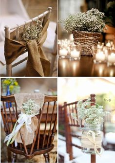 Decoração com Mosquitinho  -Flowers, Burlap and netting material to decorate chairs and as table runners