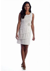 Connected Apparel Tiered Lace Dress at Belk