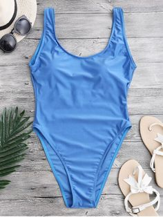 High Cut Backless Swimsuit - BLUE XS