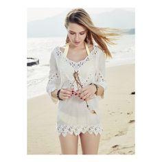 Beach Bikini Cover Up Crochet Beachwear ($21) ❤ liked on Polyvore featuring swimwear, cover-ups, white, crochet swimsuit cover up, bathing suit cover ups, swimsuits bikinis, swim suit cover up and white crochet bikini