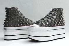Double-platform studded black leather Converse high tops