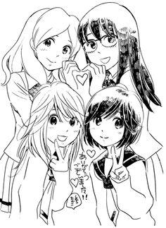 Akko x Mari - Girl Friends + Sumika x Ushio - Sasameke Koto. Yo me vi sasameko koto :D Sasameki Koto, Lesbian Art, Shoujo, Yuri, Girlfriends, Monochrome, Anime, Kawaii, Ships