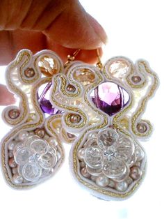 Bridal Earrings Swarovksy pearls & Crystals OOAK in soutache technique