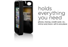 Eyn case for iPhone - holds credit card, cash, license, key and has a mirror. Just ordered it!