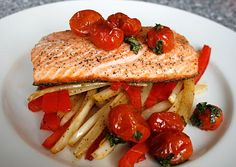 Slow Roasted Salmon with caramelized tomatoes...