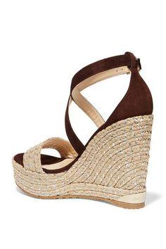 Jimmy Choo - Portia Suede Wedge Sandals - Brown - IT38.5