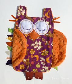 I could make this!  Minky OWL Ribbon Tag Baby Blanket in Magenta and Orange Woodland Animals Print Blankie Lovey Lovie Baby Gift.
