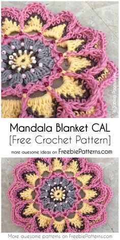 Crochet Mandala Blanket CAL [Free Pattern] Hi Crochet Lovers! Today I want to present you another wonderful crochet project. Crochet Rug Patterns, Crochet Mandala Pattern, Crochet Circles, Crochet Afghans, Crochet Squares, Crochet Designs, Knitting Patterns, Doilies Crochet, Lace Doilies