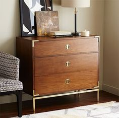 Wooden dresser with gold campaign hardware - so gorgeous and on sale for almost $200 off!!!