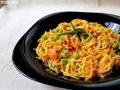 Vermicelli Upma /Sevai Upma Tangy vermicelli tempered in South Indian spices Upma Recipe, Vegetarian Cooking, Vegetarian Recipes, Veg Recipes, Pasta Recipes, Yummy Recipes, Cooking Recipes, Diwali Special Recipes, Gastronomia