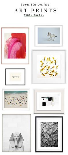 My favorite art prints to shop online for chic gallery walls and vignettes on Thou Swell @thouswellblog