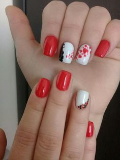 Fashion nails Heart nail designs, Manicure Manicure on the day of lovers, Modern nails, Nails ideas Party nails ideas, Red and white nails Heart Nail Designs, Red Nail Designs, Best Nail Art Designs, Nail Designs Spring, Nail Polish Designs, Red And White Nails, Bright Red Nails, Black Nails, Modern Nails