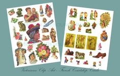 Victoriana Clipart Vintage French Courtship Cards Flowers, Eggs, Animals, Children, Ladies Digital Download Printable Clip Art by mindfulresource on Etsy