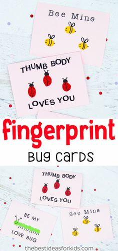Fingerprint Bug Cards – a fingerprint bee, ladybug and caterpillar. Cute diy car… Fingerprint Bug Cards – a fingerprint bee, ladybug and caterpillar. Cute diy card for kids to make for Valentine's Day or Mother's Day! Valentine's Day Crafts For Kids, Valentine Crafts For Kids, Mothers Day Crafts, Toddler Crafts, Preschool Crafts, Kids Diy, Mothers Day Card Kids, Kids Arts And Crafts, Valentines Day Activities