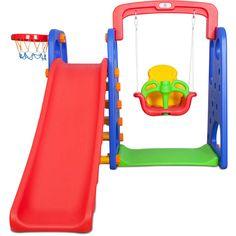 The 3-in-1 Beryl Slide/Swing & Basketball System $230