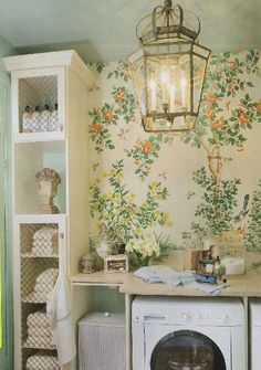 Chinoiserie Chic: An Iconic Chinoiserie Laundry Room. With sources for lantern, wallpaper and more. Interior Design Living Room, Living Room Designs, Living Room Decor, Interior Decorating, Living Rooms, Living Spaces, Laundry Nook, Laundry Room Design, Laundry Closet