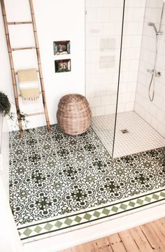 amazing mixed pattern tile floor in a bathroom