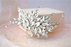 Rhinestone Hair Comb Crystal Hair Comb Bridal Hair by BoutiqueJuJu