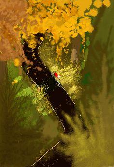 campion, pascal - riding bike through autumn trees