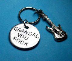 Grandad gift GRANDFATHER Guitar Music gift by BeesHandStampedGifts