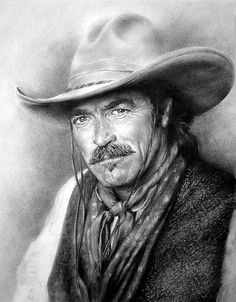 charcoal portrait of one of my favorite cowboys, Tom Selleck, by steeelll, S. Capos, via Flickr