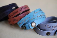 Your favorite quote --- custom engraved leather wrap bracelet by BookFiend on Etsy https://www.etsy.com/listing/152838921/your-favorite-quote-custom-engraved