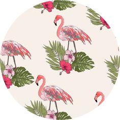 Flamingos on Palms Circle Wall Decal