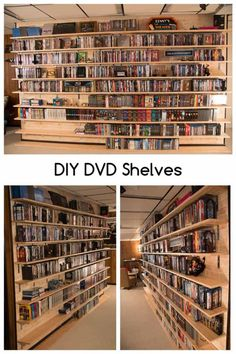 Installing and building a wall mounted DVD shelf in your home. These DIY DVD shelves use brackets for wall mounted shelves. Great for displaying a large DVD or Blu-Ray collection. Diy Dvd Shelves, Dvd Wall Shelf, Ikea Dvd Storage, Dvd Storage Tower, Dvd Storage Cabinet, Movie Storage, Wall Mounted Shelves, Hidden Storage, Wood Projects