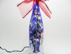 Snowman Snow Babies Lighted Wine Bottle Cobalt Blue Hand Painted 750ml