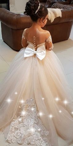 Pretty Tulle Bateau Neckline Ball Gown Flower Girl Dress With Lace Appliques & Bowknot Wedding Dresses For Kids, Gowns For Girls, Little Girl Dresses, Girls Dresses, Short Dresses, Wedding Ideas, Wedding Flower Girl Dresses, Bridal Dresses, Wedding Gowns